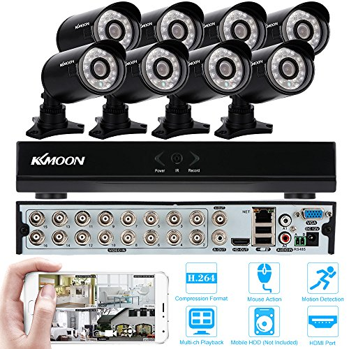 KKMOON-Home-Surveillance-Security-Camera-System-CCTV-Kit-with-16CH-960H-D1-DVR-and-8pcs-800TVL-IR-Weatherproof-Cameras