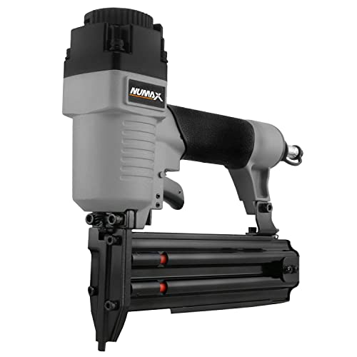NuMax SBR50 Pneumatic 18-Gauge 2 Brad Nailer Ergonomic and Lightweight Straight Brad Gun with Reload Indicator for Moulding, Baseboard, Trim, Doors, and Handrails
