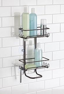 MDesign Bath Suction Shower Caddy Shelves, Storage For Shampoo,  Conditioner, Soap   Bronze