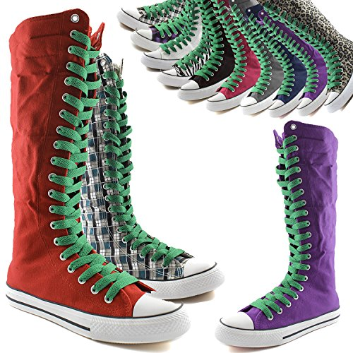 Boots Mid Canvas Green Flat Tall Punk DailyShoes Calf Leaf Womens Lace Casual Boots Sneaker Fuchsia qaTRXR