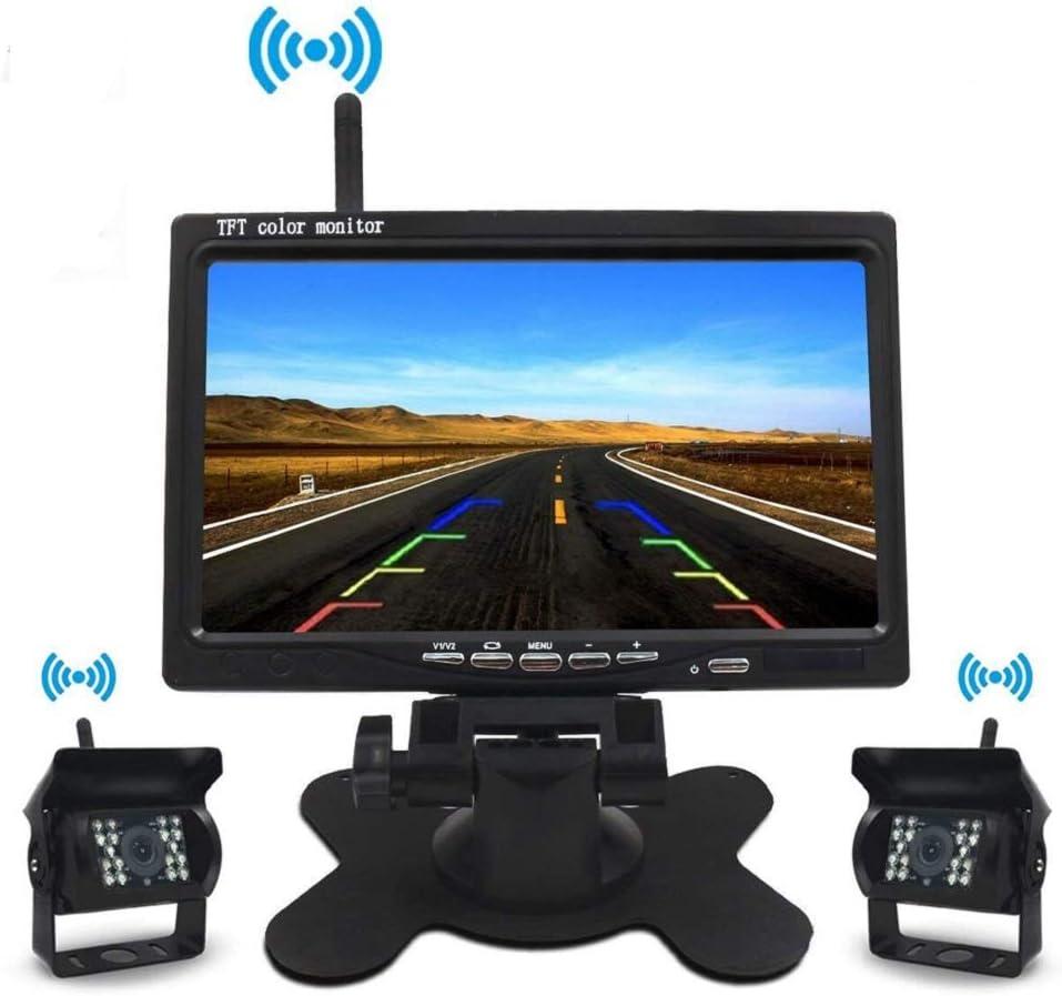 UKSoku Rearview - Kit de cámara de Copia de Seguridad inalámbrica de 7 Pulgadas TFT LCD IP67 Impermeable visión Nocturna Split Screen 270° Wide Angle for Bus RV Truck Box Semi-Trailer: Amazon.es: