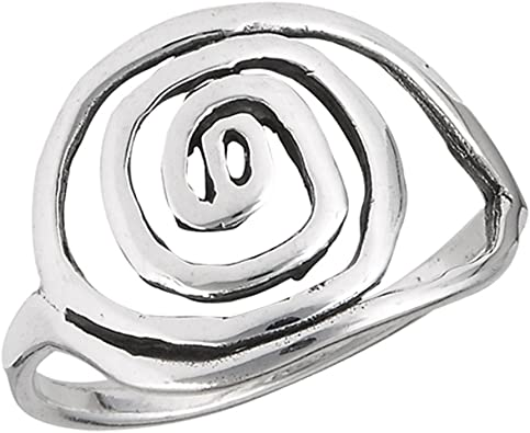 Wide Ring black spiral silver