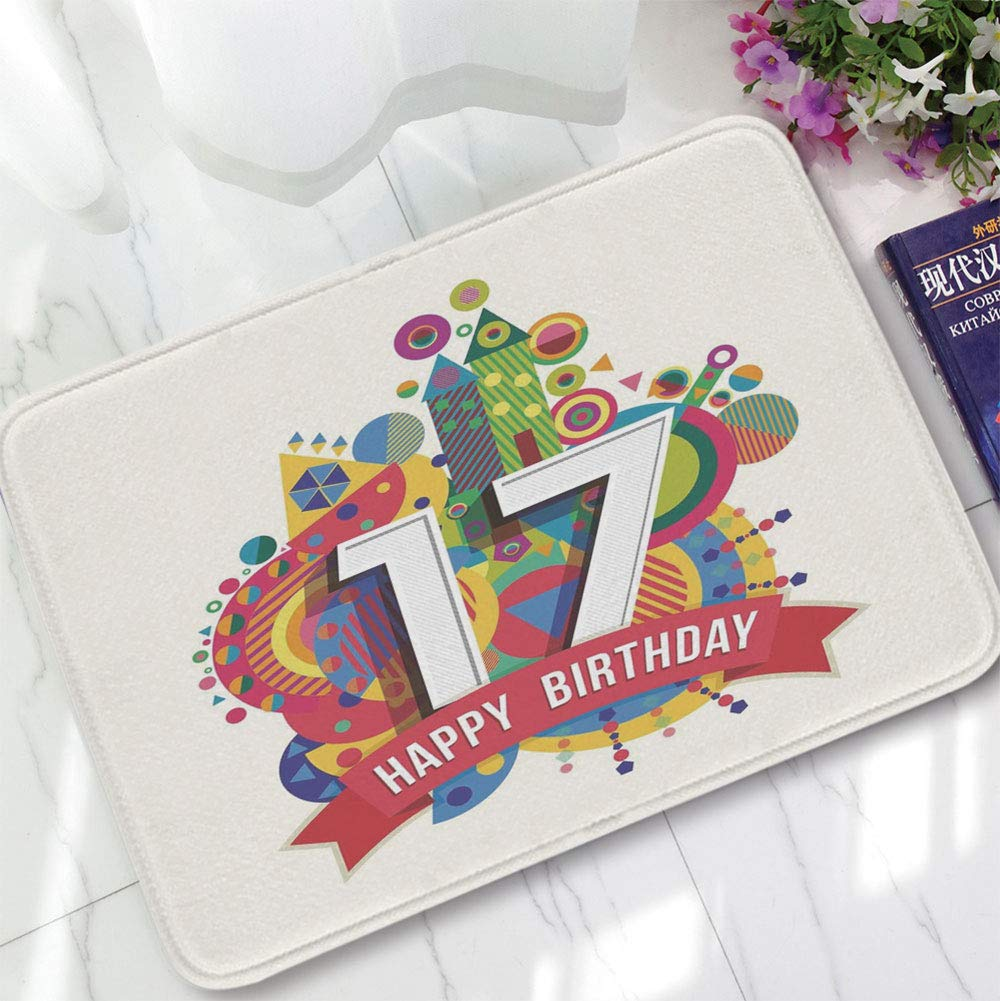YOLIYANA Non-Slip Mat,17th Birthday Decorations,for Bathroom Kitchen Bedroom,15.75''x23.62'',Sweet Seventeen Party with Geometric Castle