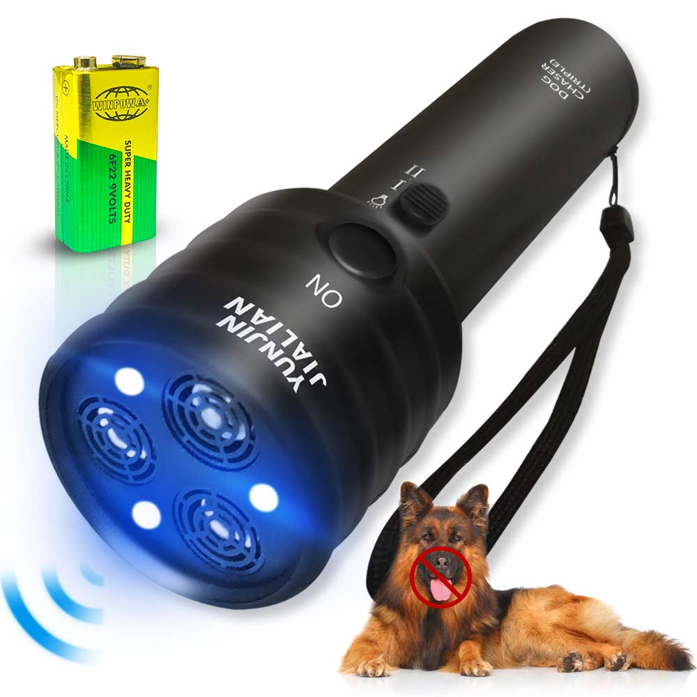Handheld Dog Repellent Sonic Anti Barking Device, 3 Channels and Strong LED Flashlights, Sonic Bark Deterrents and Dog Training & Behavior Aids by Mayeit
