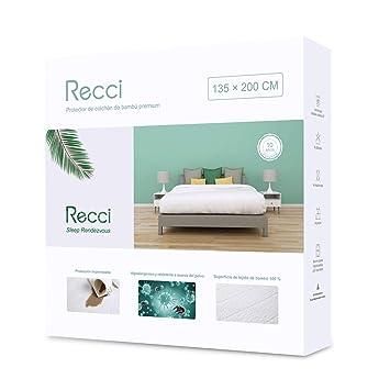 Recci Cubre Colchón 135x190/200 - Cubrecolchón Impermeable 135x190/200, 100% Bambú