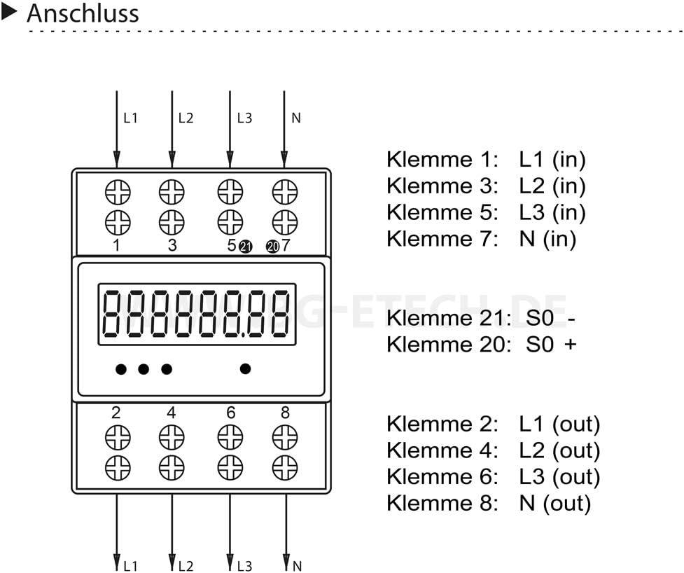Unterstromzähler LCD Drehstromzähler Hutschiene 5-80A Digital 3-Phasen-4-Draht