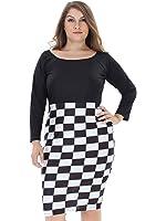 Clothink Women Navy Round Neck Half Sleeve Plus Size Denim Mini Dress with Pockets