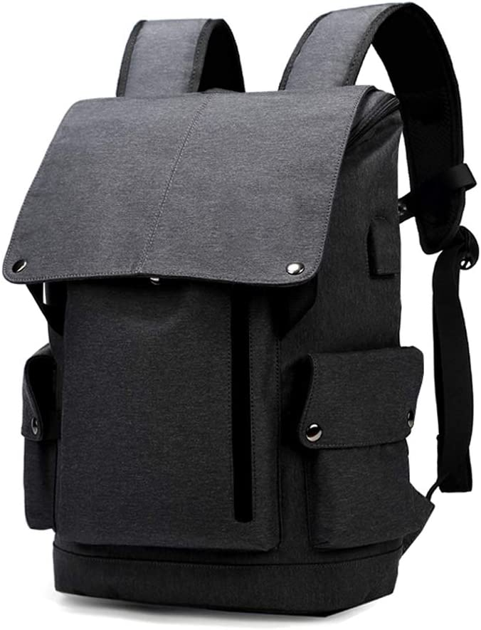 Color : Upgraded - Linen Black WFFXLL Backpack Fashion Trend Personality Backpack Male Korean Travel Computer Bag Casual Simple Student Bag Briefcase