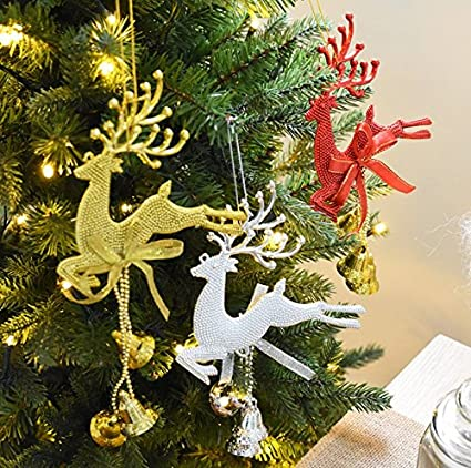 reindeer ornaments set of 3 plastic reindeer ornaments with hanging bells christmas tree ornaments
