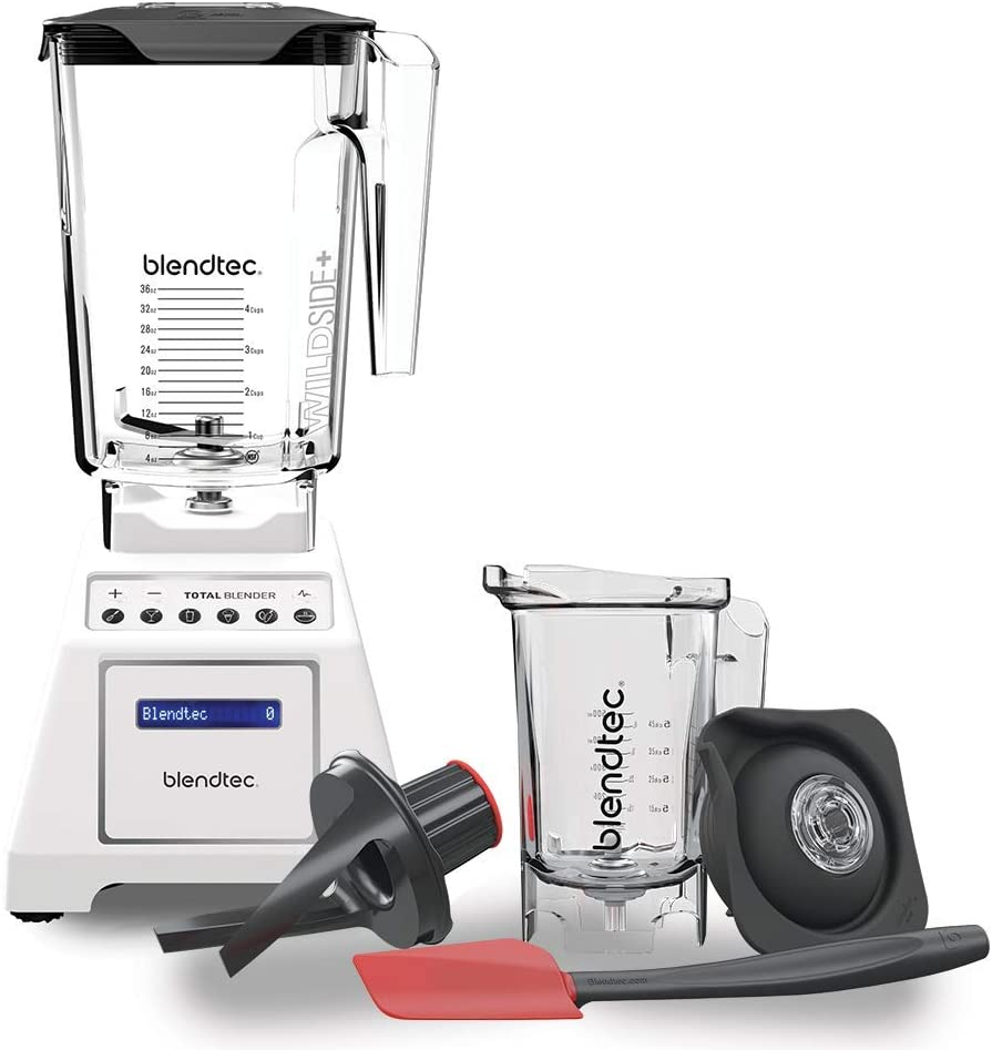 Blendtec Total Classic Original Blender - WildSide+ Jar and Twister Jar BUNDLE - Professional-Grade Power - 6 Pre-programmed Cycles - 10-speeds - White