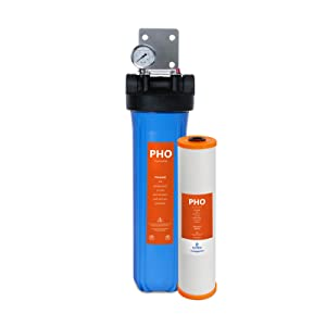 """Express Water Anti Scale Whole House Water FIlter – Home Water Filtration System – Polyphosphate Conditioner – includes Pressure Gauge, Easy Release, and 1"""" Inch Connections"""