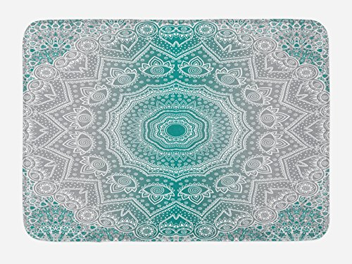 Ambesonne Grey and Teal Bath Mat, Mandala Ombre Sacred Geometry Occult Pattern with Flower Lines Display Artwork, Plush Bathroom Decor Mat with Non Slip Backing, 29.5 W X 17.5 L Inches, Teal Grey