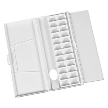 White Removable Clamshell Palette Plastic Color Box Paint Palette Artist Supplry