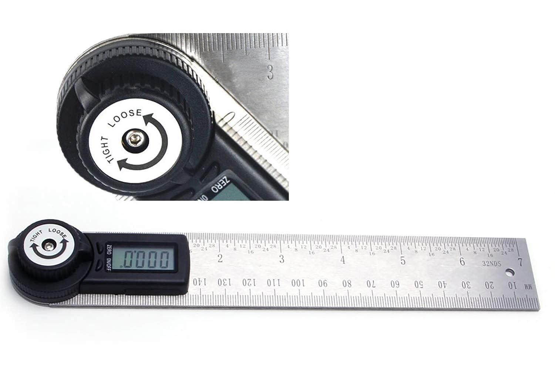 TRZ longitud de 400 mm uso dom/éstico Regla angular digital con pantalla LCD y funci/ón de bloqueo rango de medici/ón: 0 /° ~ 360 /° herramienta de /ángulo de acero inoxidable para trabajos de madera