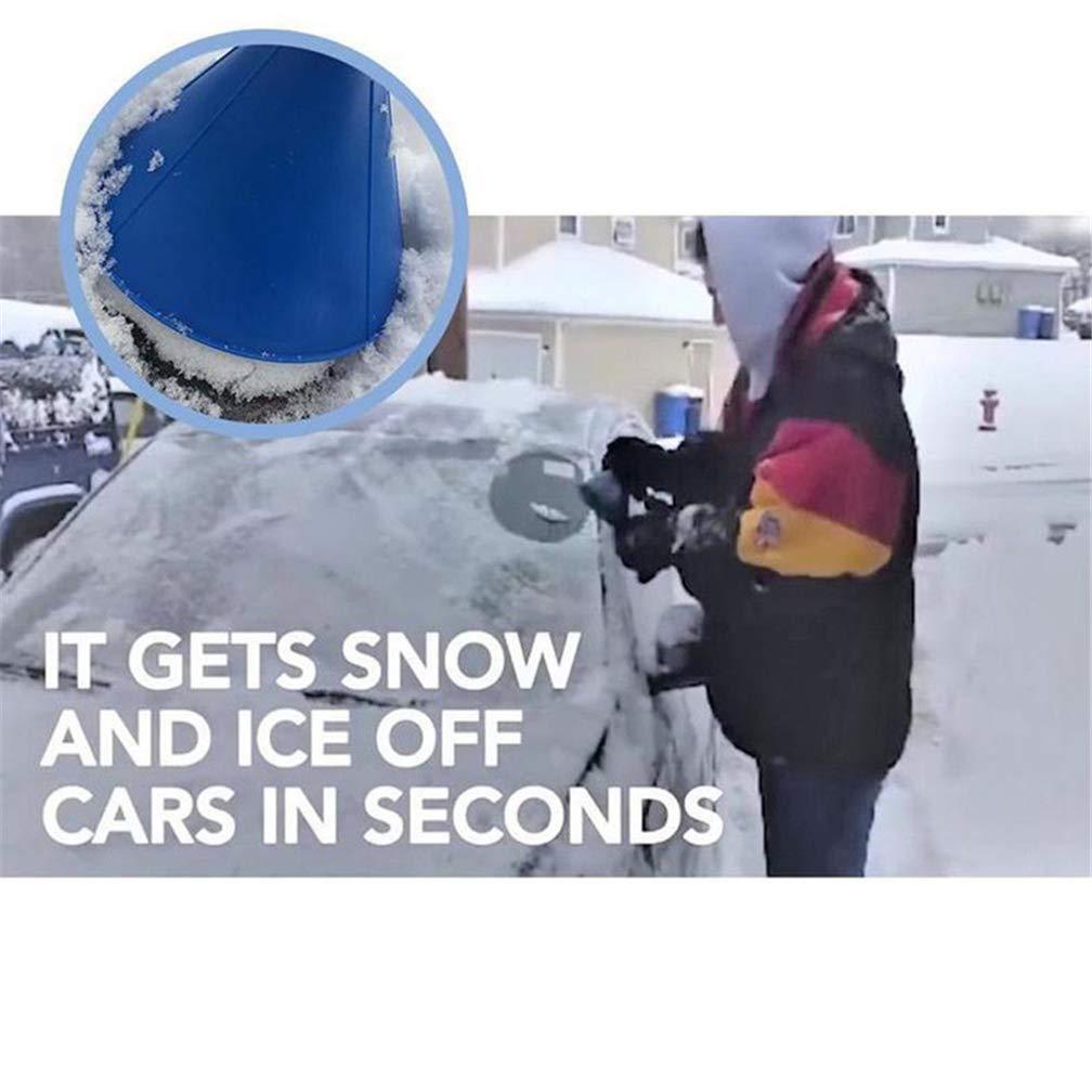 Starall 2 In 1 Tool Oil Funnel Round Ice Scraper Windshield Scraper Snow Cleaning Brush Blue