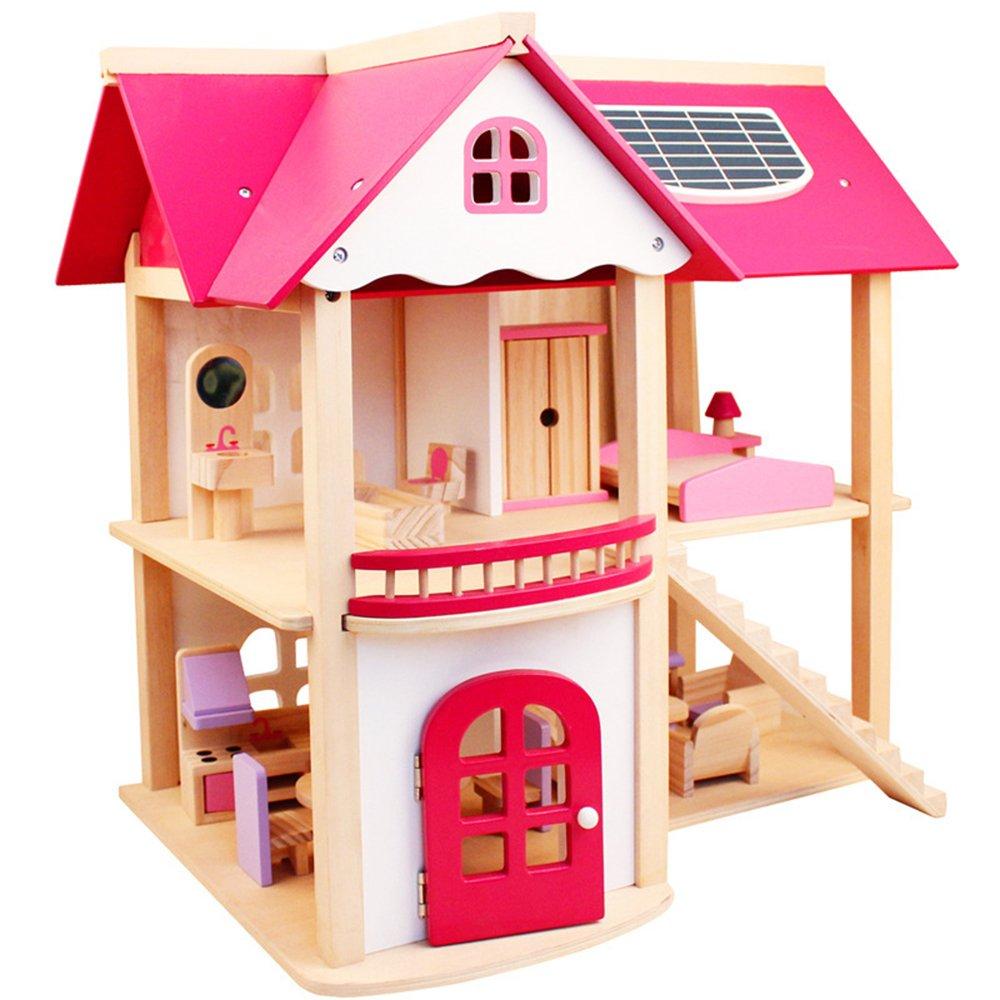LINAG Kinder Puppenhaus Häuser Minipuppen Modepuppen Möbel Zubehör DIY Modelle Spielzeug Zusammengebaut Vorgeben Haus Spielen