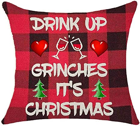 Amazon Com Red Plaid Christmas Santa Claus Drink Up Grinches Funny Christmas Cotton Linen Decorative Throw Pillow Case Cushion Cover Lion Piillow Case 18 X18 Throw Pillow Cover 2 Home Kitchen