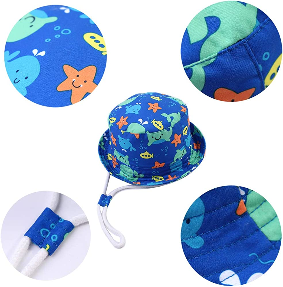 SYROSA Baby Girls Boys Sun Bucket Hat Summer Cotton UV Protection for Kids Dolphin Blue 1-8 Years
