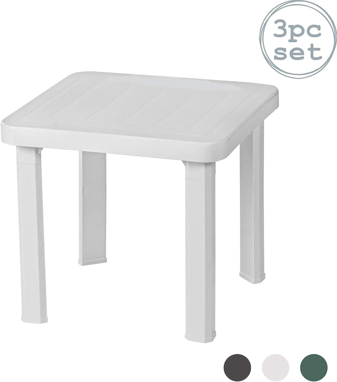 Resol Andorra plástico Inicio Jardín Mesa lateral - Blanco - 47 x 47 cm - Pack de 3