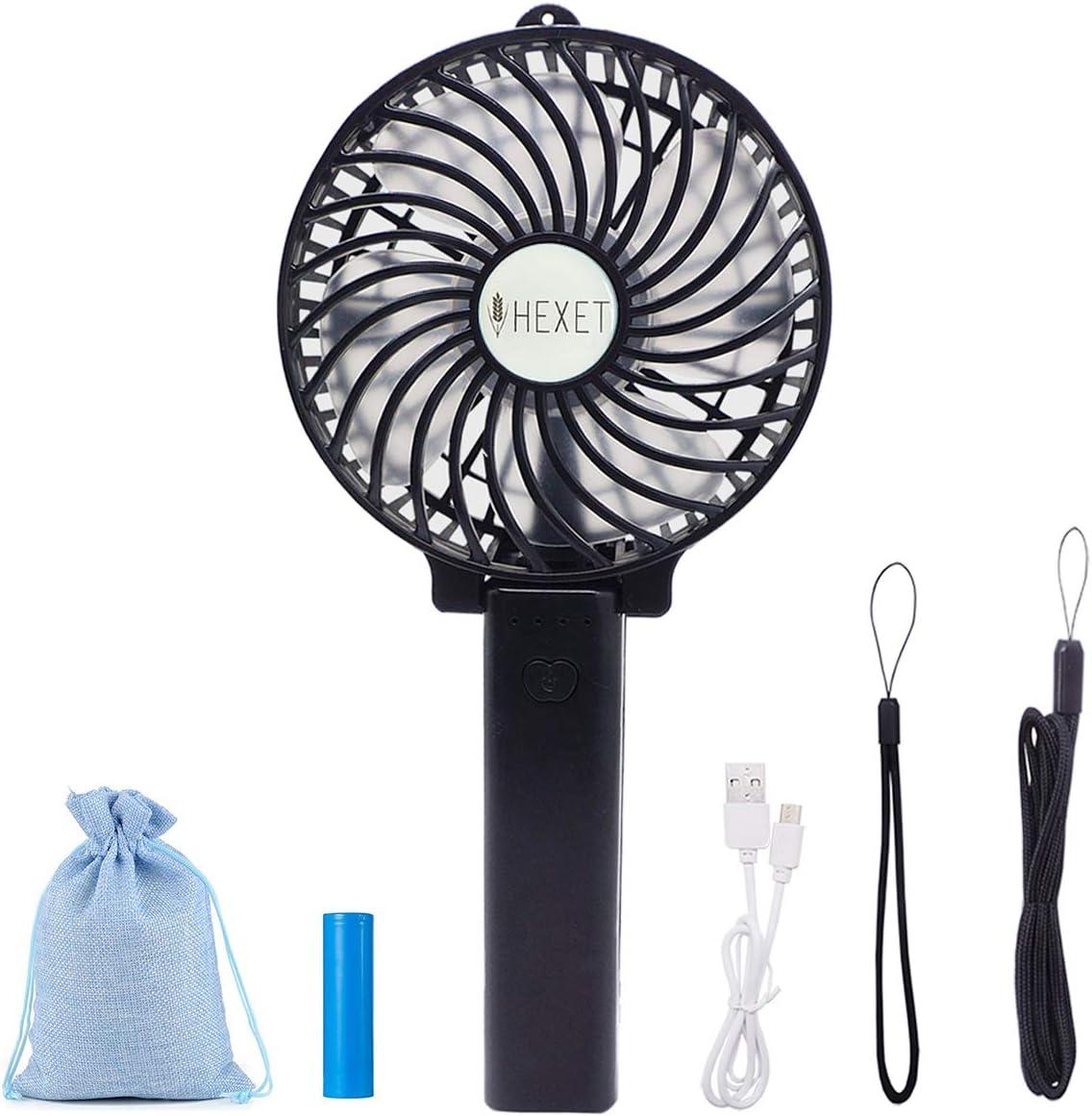 BENKS Mini Ventiladores de Mano Ventilador Port/átil USB con 3350 mAh LG Bater/ía 3 Niveles de Velocidad Ajustables Tiempo de Trabajo 2-7H para Oficina//Hogar//Playa//Camping//Coche Blanco
