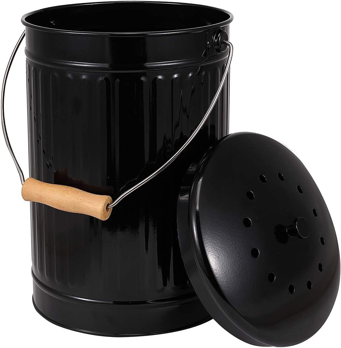 Acier Inoxydable 1 Gallon poign/ées Filtre /à Charbon Inclus Noir Morezi Poubelle /à Compost dint/érieur pour comptoir de Cuisine id/éal pour Les Aliments