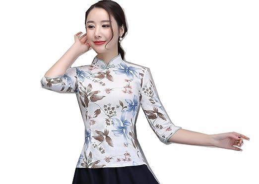 8711766aade Amazon.com  Shanghai Story Half Sleeve Chinese Cheongsam Top Qipao Shirt  Chinese Blouse  Clothing