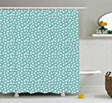 Polka Dot Shower Curtain Ambesonne Turquoise Shower Curtain, Retro Vintage 60s 50s Inspired Geometric Polka Dots Romantic Art Print, Fabric Bathroom Decor Set with Hooks, 70 Inches, White and Light Blue