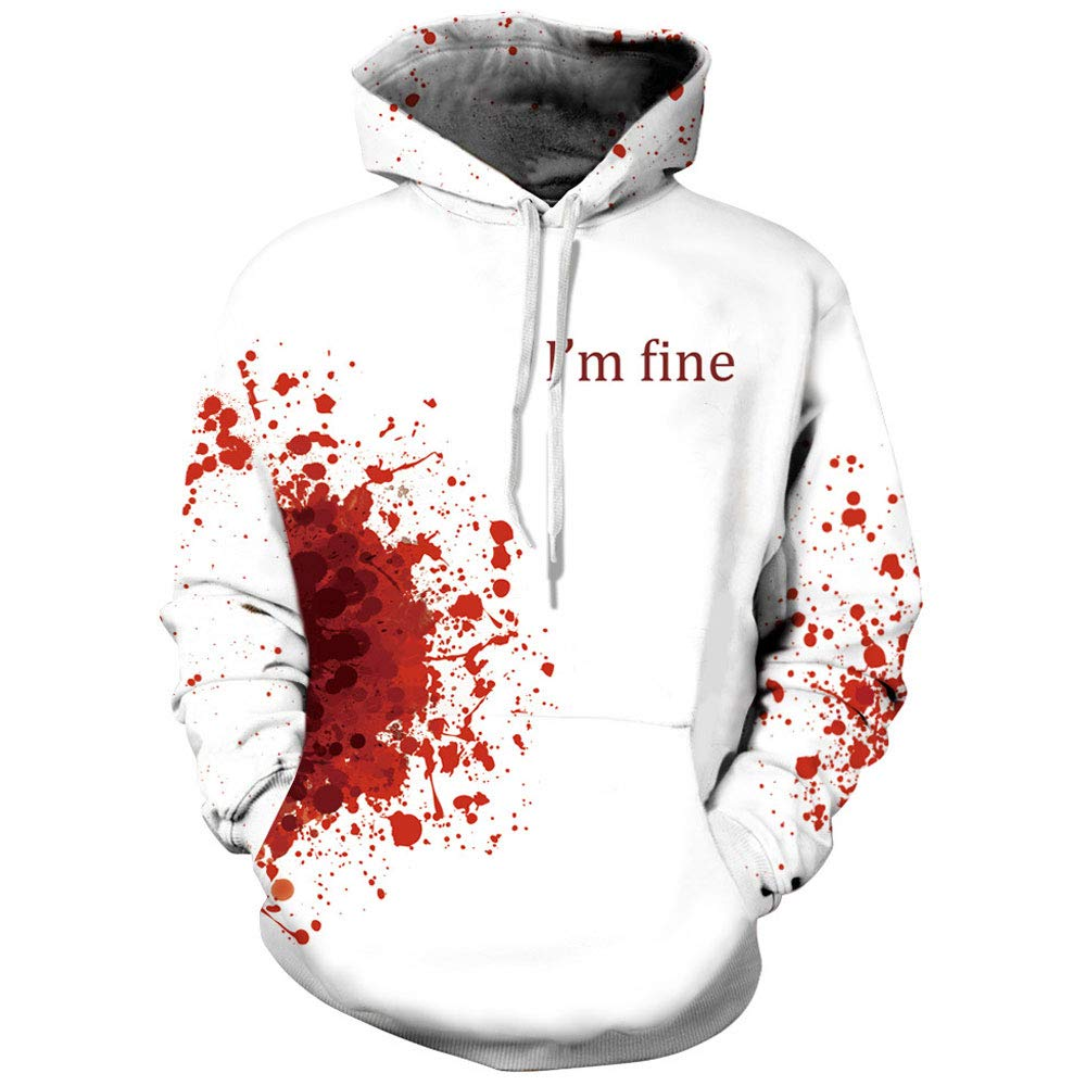 Homemaple Unisex Halloween Hoodies 3D Printing Sport Hoodie Sweatshirt with Big Pockets Christmas (S/M, I'm fine)