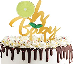 Lemon Oh Baby Cake Topper, Acrylic Lemonade Baby Shower Gender Reveal Cake Decor,Summer,Tutti Frutti,Hawaiian, Swimming Pool Party Supplie Decorations