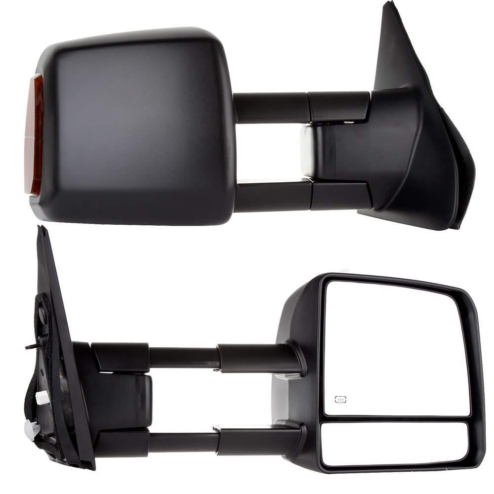 SCITOO fit Toyota Towing Mirrors Rear View Mirrors fit 2007-2016 Toyota Tundra Truck Larger Glass Power Control, Heated Turn Signal Manual Extending Folding (black) by SCITOO (Image #1)