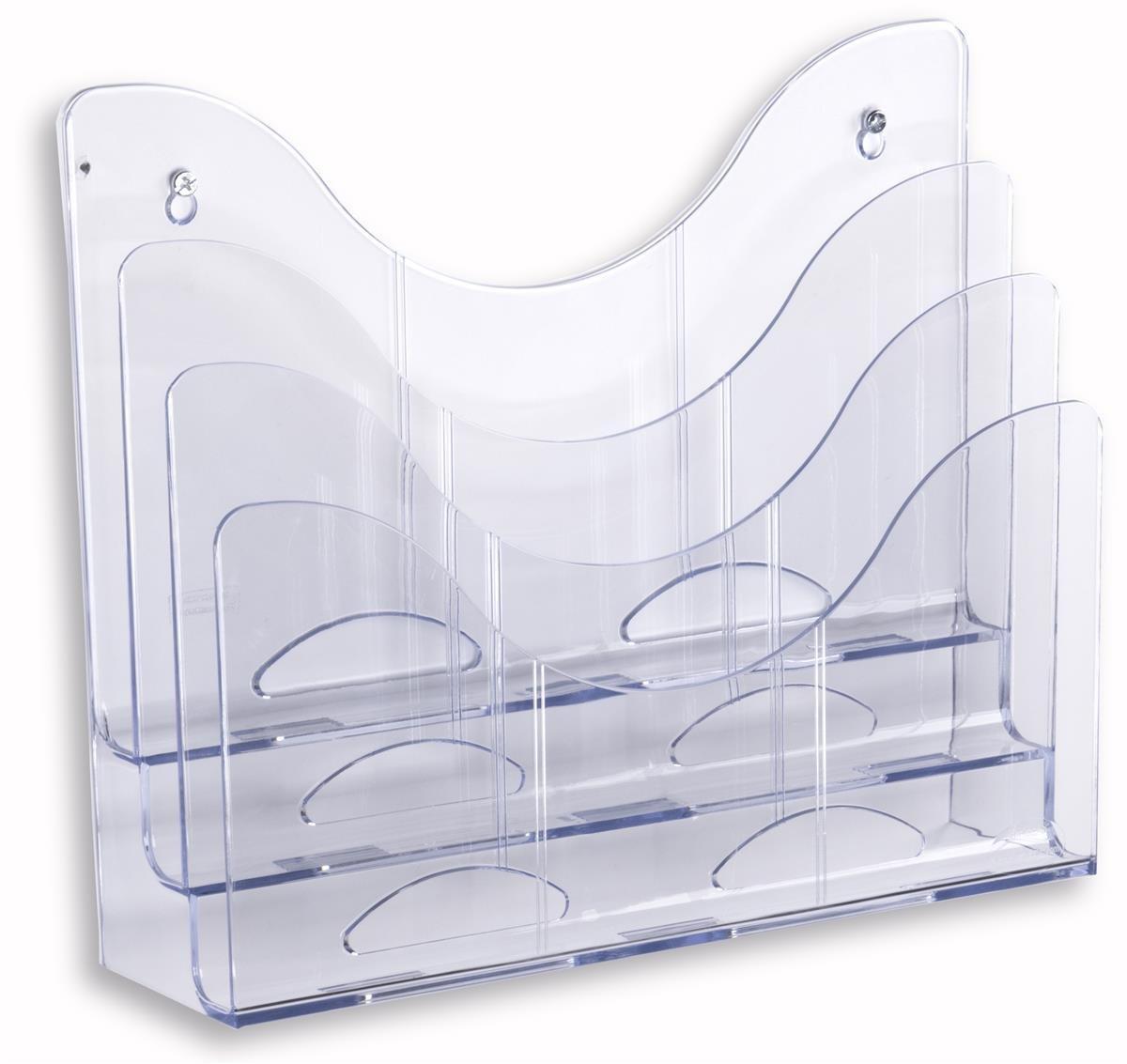 Displays2go Set of 3 - Clear File Folder Rack, 3 Tiers, Legal/Letter for Desk or Wall Mount (3LTPCKCR)