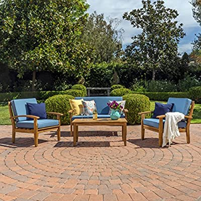 GDF Studio Preston 4 Piece Wood Outdoor Patio Seating Chat Set w/Blue Cushions - Includes: Two (2) Club Chairs, One (1) Loveseat, and One (1) Table Club Chair Dimensions: 32.50 inches deep x 28.00 inches wide x 31.25 inches high Seat Width: 22.75 inches Seat Depth: 23.25 inches Seat Height: 16.75 inches Arm Height: 22.50 inches Loveseat Dimensions: 32.50 inches deep x 50.75 inches wide x 31.25 inches high Seat Width: 45.50 inches Seat Depth: 23.25 inches Seat Height: 16.75 inches Arm Height: 22.50 inches - patio-furniture, patio, conversation-sets - 61P1NC67Q8L. SS400  -