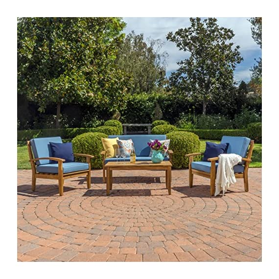 Preston 4 Piece Wood Outdoor Patio Seating Chat Set w/Blue Cushions - Includes: Two (2) Club Chairs, One (1) Loveseat, and One (1) Table Club Chair Dimensions: 32.50 inches deep x 28.00 inches wide x 31.25 inches high Seat Width: 22.75 inches Seat Depth: 23.25 inches Seat Height: 16.75 inches Arm Height: 22.50 inches Loveseat Dimensions: 32.50 inches deep x 50.75 inches wide x 31.25 inches high Seat Width: 45.50 inches Seat Depth: 23.25 inches Seat Height: 16.75 inches Arm Height: 22.50 inches - patio-furniture, patio, conversation-sets - 61P1NC67Q8L. SS570  -