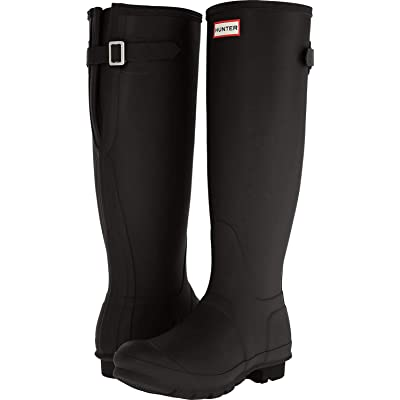 HUNTER Women's Original Back Adjustable Rain Boots (9 M US, Black Gloss) | Rain Footwear