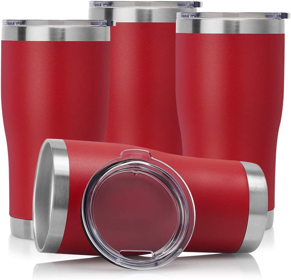 DOMICARE 20oz Double Wall Vacuum Insulated Tumbler with Lid, Stainless Steel Travel Mug, Powder Coated Coffee Cup, Red, 4 Pack