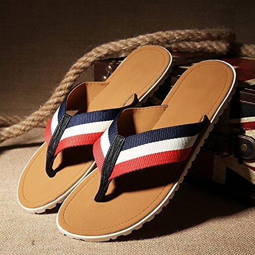 Fereshte Zapatillas De Moda Para Hombre Flip Flop Casual Transpirable Colorblock Sandalias De Playa Rojo Blanco