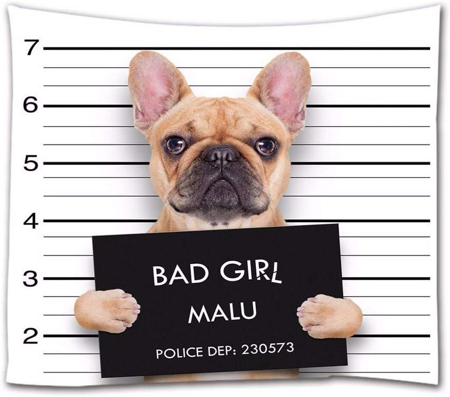 A.Monamour Tapices de Pared Una Foto De Una Niña Mala Perro Bulldog Divertidos Decoraciones De Animales Tela De La Tela Tapicería Cortinas Mantel ...