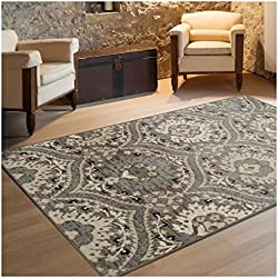 "Superior Designer Augusta Collection Area Rug, 8mm Pile Height with Jute Backing, Beautiful Floral Scalloped Pattern, Anti-Static, Water-Repellent Rugs - Light Blue, 2'7"" x 8' Runner Rug"