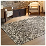 Superior Designer Augusta Collection Area Rug, 8mm Pile Height with Jute Backing, Beautiful Floral Scalloped Pattern, Anti-Static, Water-Repellent Rugs - Light Blue, 4' x 6' Rug