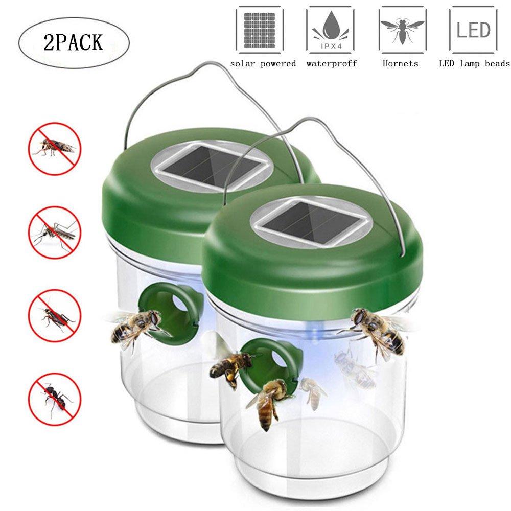 KOBWA Wespenfalle 2er Set,Mückenfalle und Wespenfalle mit Solar Licht, LED Leuchte Lockt Mücken an, Insektenfalle,Einfach mit Lockstoff Füllen,Wespenfänger und Fliegenfalle Ohne Gift