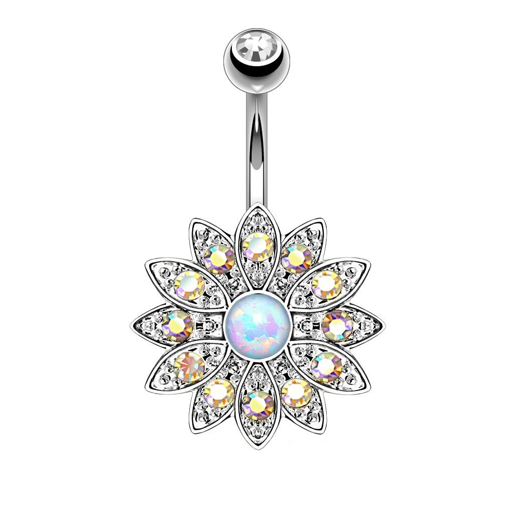 BodyJ4You Belly Button Ring Jeweled Flower BN1387-RB