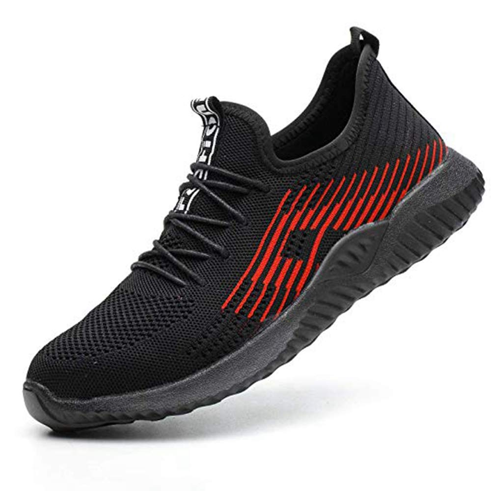 KINGLEN Work Safety Shoes for Men Women, Steel Toe Shoes Lightweight Breathable Toe Casual Sneakers Industrial Construction Hiking Trail for Working Shoes (10.5-11 Men, Black)