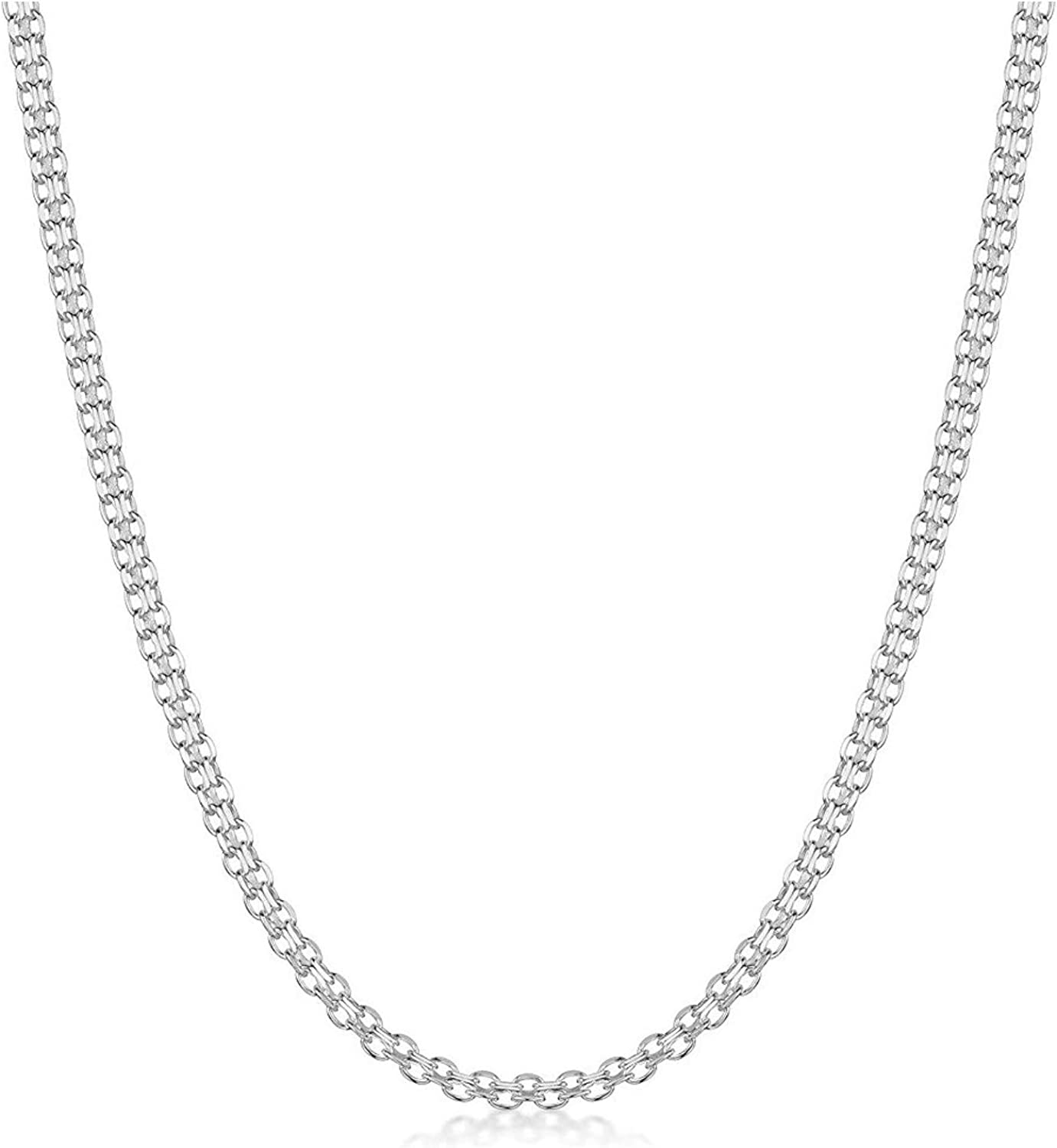 Pori Jewelers .925 Sterling Silver Italian Bismark Chain Necklace - Available in 1.8mm, 2.2mm, 3mm - Made in Italy - Multiple Lengths Available