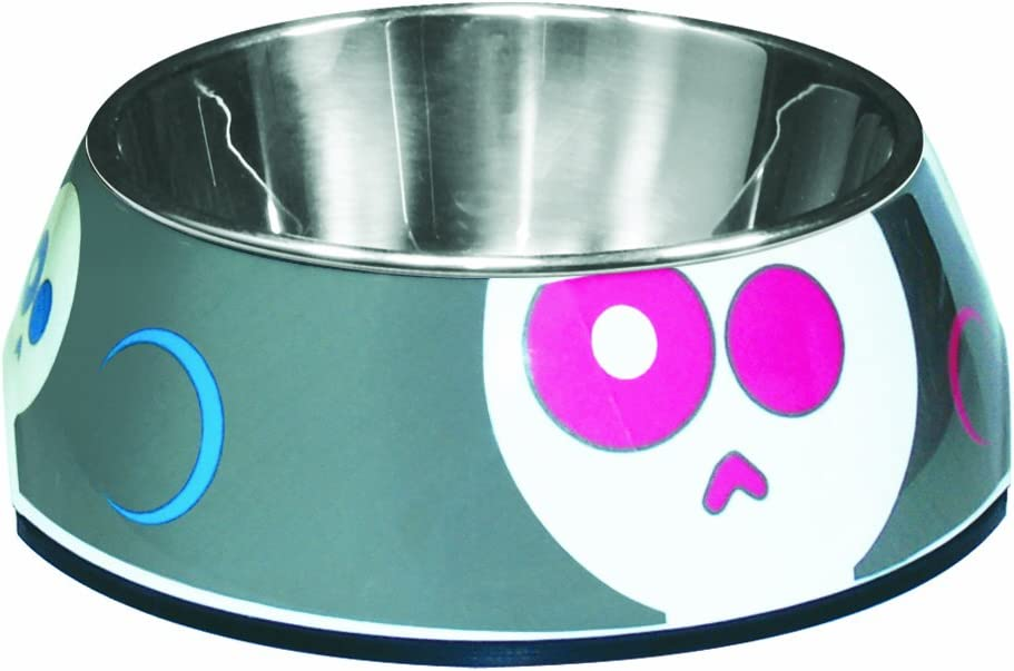 Dogit 2-in-1 Durable Dog Bowl, Food and Water Bowl for Dogs with Removable Stainless Steel Insert for Easy Cleaning, Animated Skulls Pattern, X Small