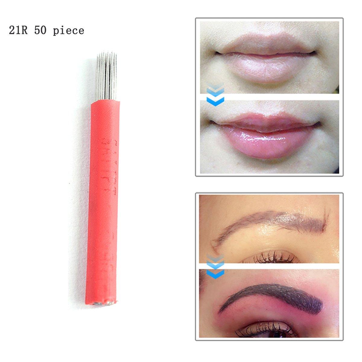 Microblading Needles 21R 50pcs Professional Microblading Needles Manual Lip Permanent Eyebrow Tattoo Makeup