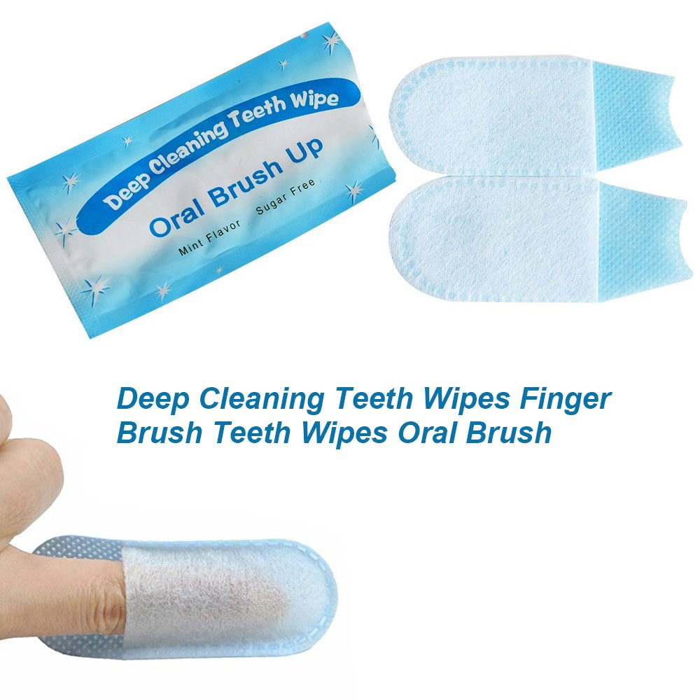 Hisight Fresh Breath Deep Cleaning Teeth Wipes Finger Brush Teeth Wipes Oral Brush Finger Brush Pre and Post Brush (Pack of 50) by Hisight (Image #4)