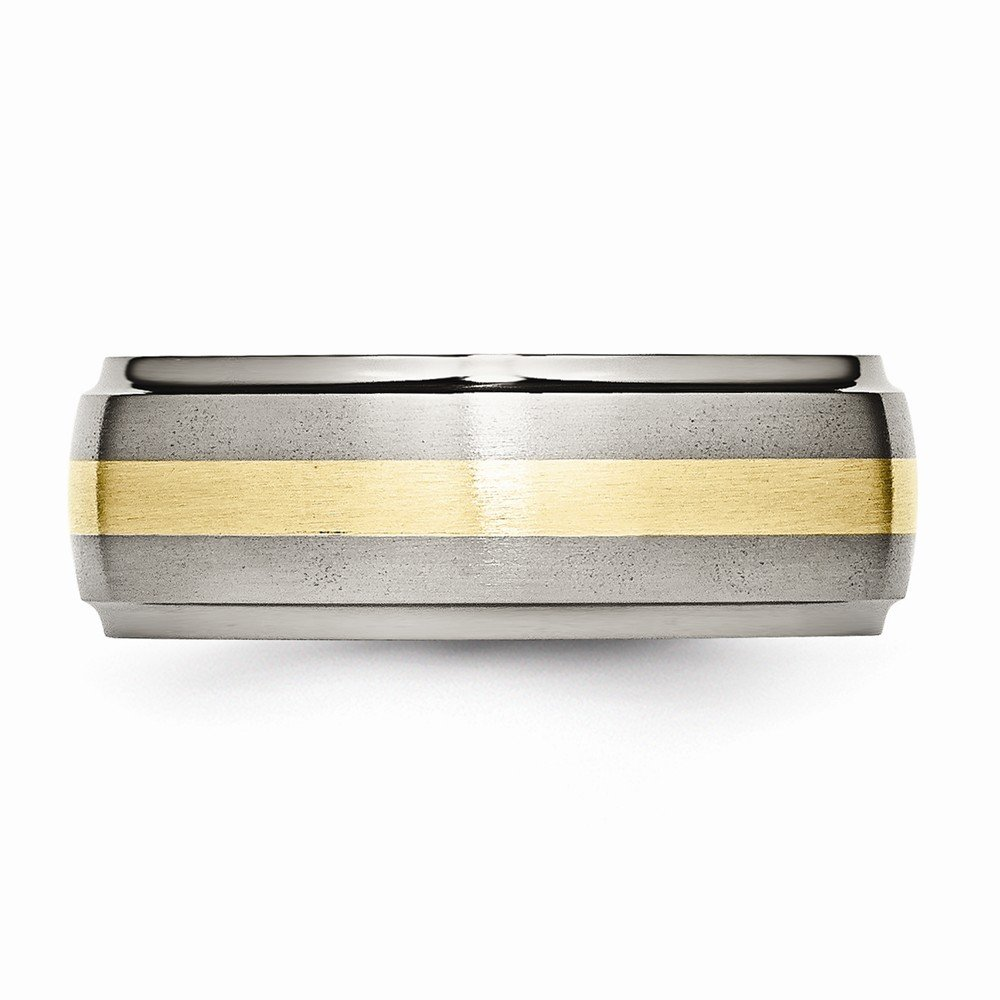ICE CARATS Titanium Ridged Edge 14k Yellow Inlay 8mm Brushed/ Wedding Ring Band Size 8.50 Precious Metal Fine Jewelry Gift Set For Women Heart by ICE CARATS (Image #5)