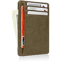 Slim RFID Blocking Card Holder Minimalist Leather Front Pocket Wallet for Women