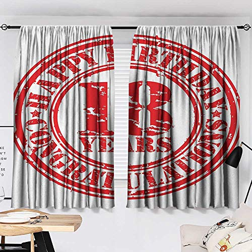 Jinguizi 18th Birthday Curtain Darkening Blackout Vintage Happy Birthday and Sweet Eighteen Stamp Icon Retro Image Print Woven Darkening Curtains Red and White W55 x L39 by Jinguizi (Image #1)