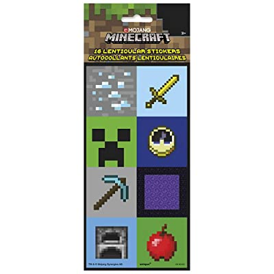 Unique Minecraft Lenticular 3D Stickers, 16 Ct.: Toys & Games